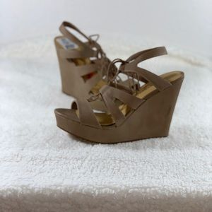 Shoes - Tan Lace Up Wedges